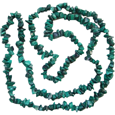 Green Malachite Nugget Necklace Polished Stones 36 Inch