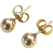Vintage Classic 10K Gold Ball Pierced Post Stud Earrings