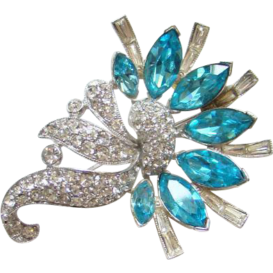 Bogoff Aquamarine Rhinestone Brooch Pin Rhodium Plated Clear Pave Scrolls Signed
