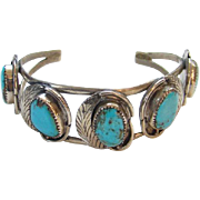 Navajo Turquoise Sterling Silver Row Cuff Bracelet 5 Large Stones Southwestern Tribal Native American