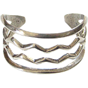 Sterling Silver Navajo Sand Cast Cuff Bracelet Water Symbol Design Tribal Southwestern Native American Jewelry