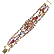 Vintage Pink Blue Aurora Borealis Rhinestone Bracelet Costume Jewelry
