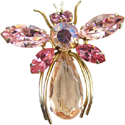 Vintage Regency Jewels Pink Rhinestone Figural Bee Insect Pin Signed