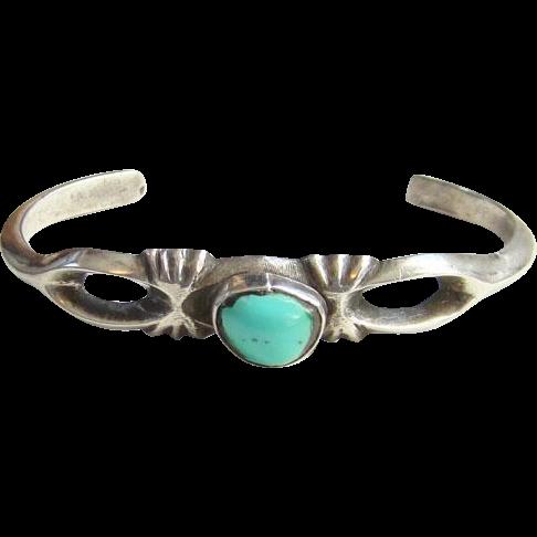 Vintage Native American Sand Cast Turquoise Cuff Bracelet Sterling Silver Corn Flower