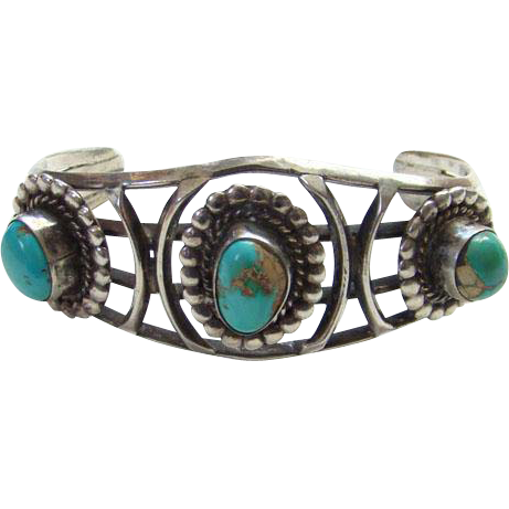 Vintage Native American Turquoise Cuff Bracelet Sterling Silver Three Stones