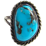 Vintage Native American Morenci Turquoise Ring Size 8 Sterling Silver Navajo Bohemian Chic