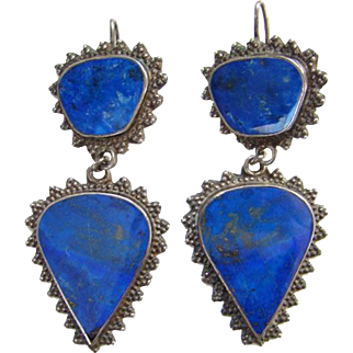 Vintage Blue Lapis Lazuli Pierced Dangle Earrings Sterling Silver Ethnic Jewelry