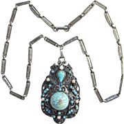Florenza Faux Turquoise Pendant Necklace Victorian Revival Appeal Signed