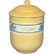 C1940s Ultra Rare Brush McCoy Yellow Ware Bluebird Allspice Spice Canister Dandy Line