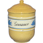 C1940s Ultra Rare Brush McCoy Yellow Ware Bluebird Cinnamon Spice Canister Dandy Line
