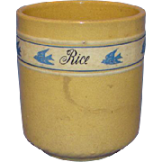 C1940s Ultra Rare Brush McCoy Yellow Ware Bluebird Rice Canister Dandy Line