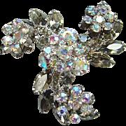 Juliana Black Diamond Smoky Quartz AB Rhinestone Flower Sprays Swirl Brooch DeLizza Elster D and E