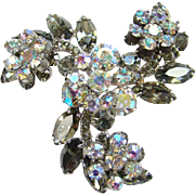 Juliana Black Diamond Smoky Quartz AB Rhinestone Flower Sprays Swirl Brooch DeLizza Elster D and E