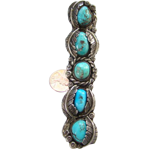 Vintage Fabulous Navajo Turquoise Sterling Silver Ring Size 6 Five Stones Signed LMW Native American