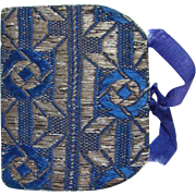Old Handmade Sewing Needle Book Case Blue Brocade with Wool Pages Needlework Tool