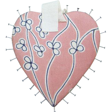 Old Pink Silk Sewing Pin Case Holder Heart Shape Collectible Needlework Tool Hand Stitched