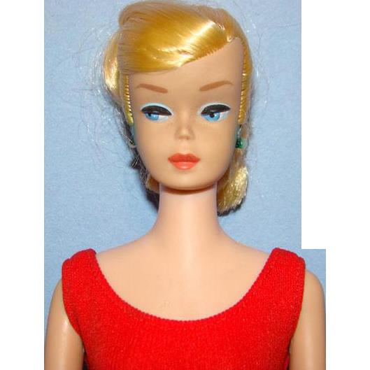 Barbie Swirl Ponytail Doll C1964 Lemon Blonde in Original Red Swimsuit