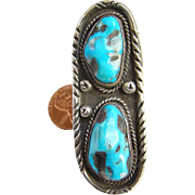 Vintage Navajo Turquoise Two Nugget Ring Size 5.5 Sterling Silver Native American Southwestern Boho