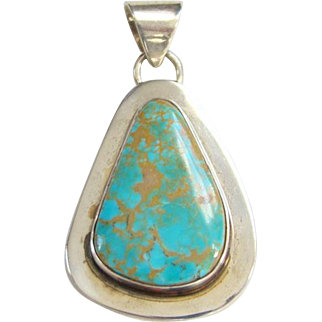 Vintage Midge Graham Turquoise Necklace Pendant Sterling Silver Signed LA Star Navajo Artist