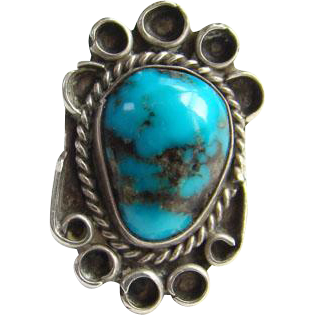 Vintage Navajo Sterling Silver Morenci Turquoise Ring Size 7.5 Native American Beautiful Stone