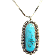 Native American Vintage Turquoise Pendant Necklace Sterling Silver and Chain