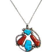 Native American Vintage Red Branch Coral Turquoise Pendant Necklace Sterling Silver