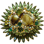 1964 Juliana Brooch Chalk White Green Oval Striped Rhinestone Starburst DeLizza Elster