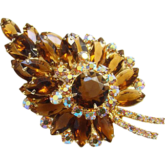 Juliana Topaz AB Rhinestone Stylized Leaf Brooch Goldtone Setting DeLizza Elster