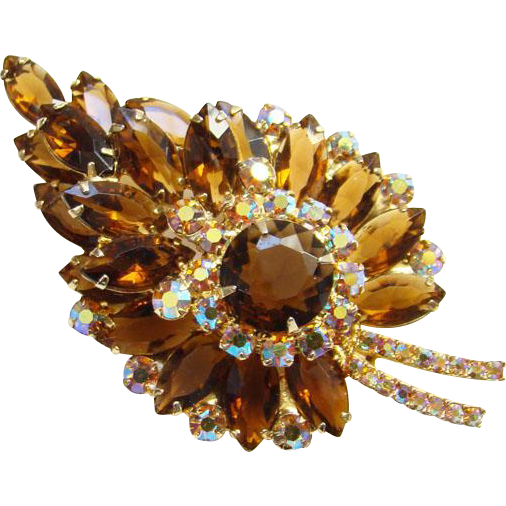Juliana Topaz AB Rhinestone Stylized Leaf Brooch Goldtone Setting DeLizza Elster