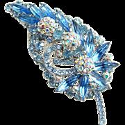 Juliana Sapphire Blue AB Rhinestone Balls Leaf Shape Brooch DeLizza Elster
