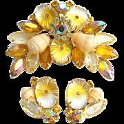 Juliana Oval Matte Topaz Pillowcase Rhinestone Brooch Earrings Set DeLizza Elster