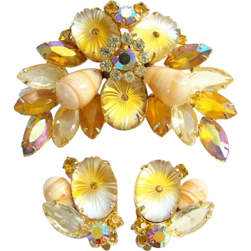 Juliana Oval Matte Topaz Pillowcase Rhinestone Brooch Earrings Set DeLizza Elster