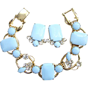Juliana Blue Milk Glass 5 Link Bracelet Earrings Set DeLizza Elster D and E