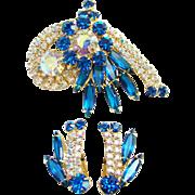 Juliana Bermuda Blue AB Rhinestone Brooch Earrings Set DeLizza Elster