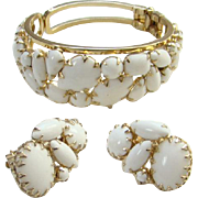 Vintage White Milk Glass Clamper Bracelet Clip Earrings Set Unsigned Beauty