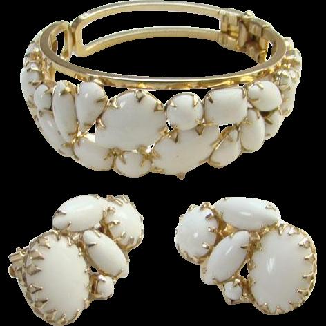 Vintage White Milk Glass Clamper Bracelet Clip Earrings Set Unsigned Beauty