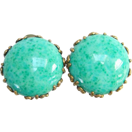 Miriam Haskell Art Deco Peking Glass Button Clip Earrings Set in Brass Vintage Signed