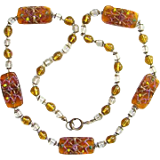 Vintage Art Deco Necklace Venetian Art Glass Beads Wedding Cake Honey Color 26 inch