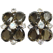 Vintage Pear Shape Smoky Quartz Black Diamond Rhinestone Clip Earrings 1960s