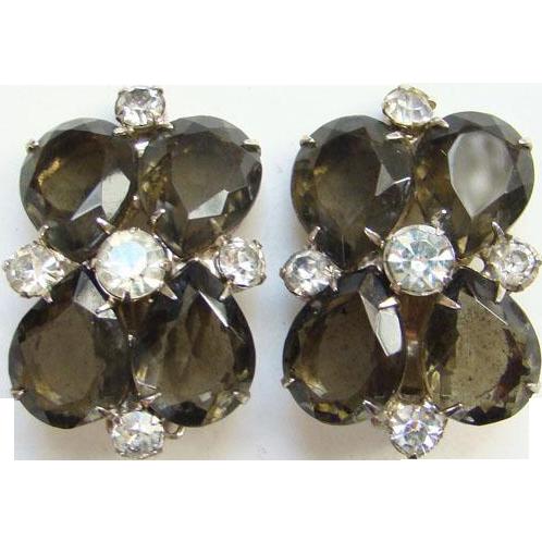 Vintage Pear Shape Smoky Quartz Black Diamond Rhinestone Clip Earrings 1960s