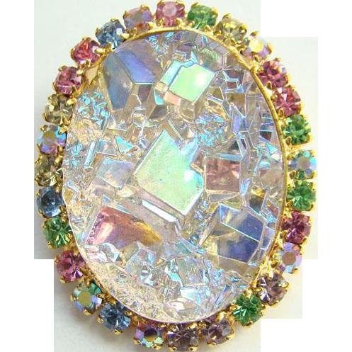 C1970 Juliana Pendant Brooch Oval Geode Rock Crystal AB Stones DeLizza Elster Verified