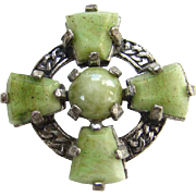 Vintage Miracle Faux Green Agate Art Glass Scottish Celtic Cross Brooch Pin Signed