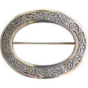 Antique Victorian Oval Sash Scarf Pin Brooch Repousse Sterling Silver Tube Hinge C Clasp