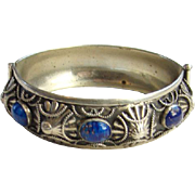 Vintage Blue Lapis Lazuli Hinged Bangle Bracelet 800 Silver Decorated
