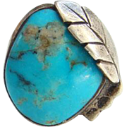 Old Native American Morenci Turquoise Ring Size 6.75 Sterling Silver Split Shank