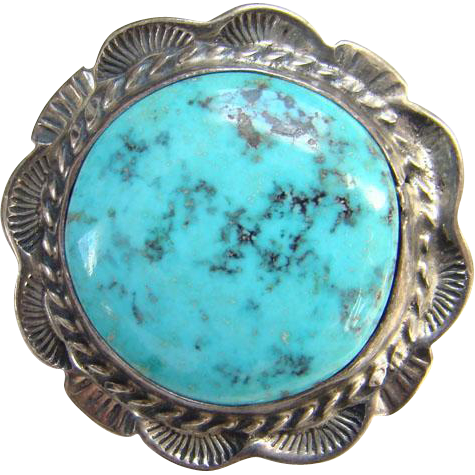 Native American Turquoise Brooch Pin Signed Sterling Skip Work Stamp Decorated