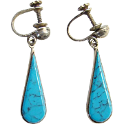 Old Turquoise Screw Back Raindrop Dangle Earrings Signed Sterling Silver