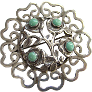 Old Taxco Mexico Mexican Sterling Silver Turquoise Brooch Pin Signed JPL 865
