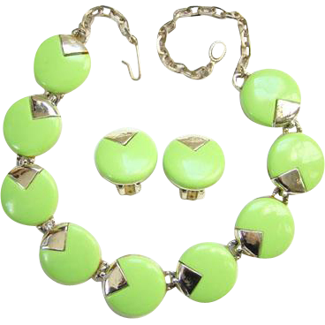 1950s Choker Necklace Earrings Set Lime Green Thermoplastic Round Disks Mid Century Jewelry