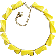 1950s Lemon Yellow Thermoplastic Choker Necklace Mid Century Plastic Jewelry